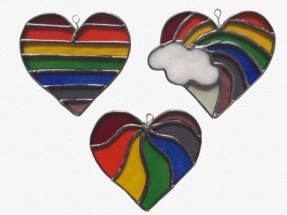 Stained glass heart in rainbow colours